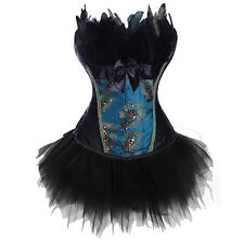 Women Sexy Lace Up Strapless Peacock Feather Boned Overbust Corset Bustier Dress