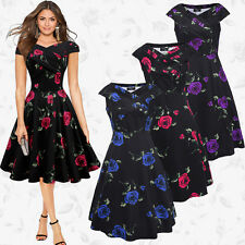 Women's Lady Vintage Style 1950's Floral Rockabilly Evening Party Swing Dress