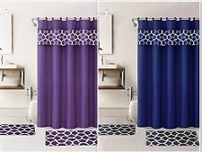 Home Fashion Geometric 15 Piece bathroom set Shower  curtain bath mat and Hooks