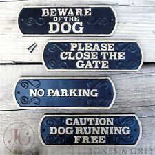 VINTAGE STYLE METAL BLACK AND GOLD WARNING / PET DOG WALL FENCE GATE SIGN PLAQUE