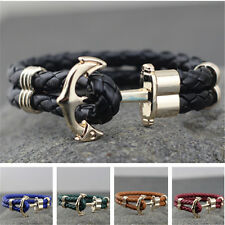 PU Leather Bracelet Unisex Anchor Woven Bracelets Bangles Hand Chain Wristband