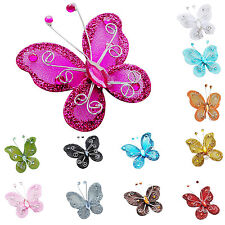10Pcs Mixed Organza Wire Rhinestone Butterfly Wedding Decorations For Home Decor