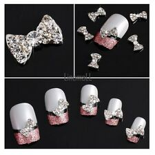 10/20Pcs 3D Rhinestone Bow Tie Nail Art Tips Stickers Slices Decoration DIY LM