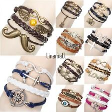 LM Mix Infinity Anchor Rudder Love Leather Nautical Friendship Charm Bracelet