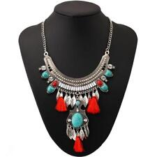 Retro Ethnic Turquoise Leaf Tassel Statement Necklace Chunky Bib Bubble Bohemian