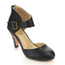 Chase & Chloe CC60 Women's Round Toe Mid Heel Hollow Out Back Zipper Pumps