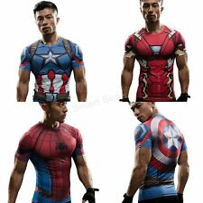 The Avengers Superhero Marvel Compression Sport T-Shirts Short Sleeve Men's Tee