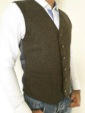 MENS WOOL BLEND CHOCOLATE BROWN FLECKED TWEED WAISTCOAT VEST - SIZES SMALL - XXL