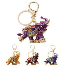 Lovely Elephant Keychain Rhinestone Keyring Keyfob Pendant Bag Decor