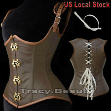 Brown Steampunk Faux Leather Full Steel Boned Underbust Corset Bustier Strapless