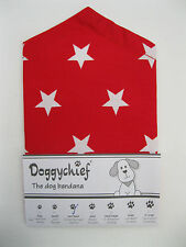 RED with white STARS Dog Bandana by Doggychief -  All sizes + other colours!