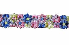 "Lily 7/8"" Sheer Organza Flower Embroidered Lace Sewing Notions Trim by Yard"