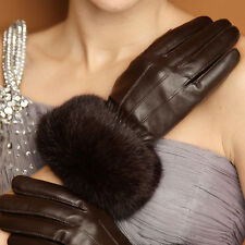 Women's 360° Smart Touch Screen Gloves Genuine Leather Rabbit Fur Black Brown