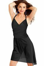 Carol Wior Swimsuit Black w/attached Sarong and Tummy Control NWT  31164Blk