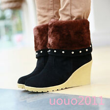 Sweet Womens Snow Boots Cuffed Rivet Wedge Heel Fur Lined Ankle Boots CasualSize