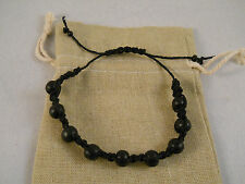 Natural Hemp Bracelet Ankle Bracelet Macrame Handmade Wood Beads Adjustable #112