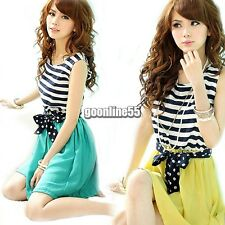 Women Chiffon Scoop Neck Splicing Stripes Vest Mini Dress Sleeveless EA9