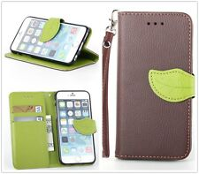 New Brown Leather Green Leaf Buckle Flip Stand Wallet Case Cover For Cell Phones