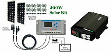 200W ( 2 x 100W ) watts Solar Panel charge controller Cable Inverter 12V RV Boat
