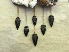 Black Obsidian Wire Wrapped Arrowheads With Crushed Carborundum Necklaces