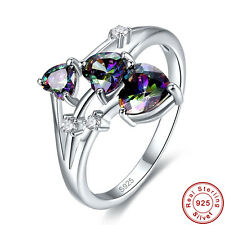 Free Jewelry Box Heart Cut Rainbow Topaz S925 Sterling Silver Ring Size 6 7 8 9