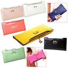 Soft Leather women wallets Bowknot Clutch bag Long PU Card Purse wallet F6S