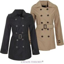 Womens Ladies Mac Double Breasted Buckle Belted Trench Jacket Coat