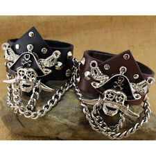 New Men Pirate Skull Punk Black Gothic PU Leather Cuff Bangle Wristband Bracelet