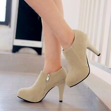 Womens Suede Round Toe Zipper High Slim Heels Platform Booties Ankle Boots Shoes