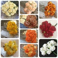 50 Artificial Mulberry Paper flowers Handmade Scrap-booking Tiny Rose 1.8 cm #C