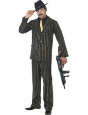 Mens 1920s Gold Pinstripe Gangster Fancy Dress Costume Wise Guy Outfit