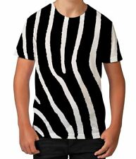 Zebra Print Animal African Holiday Summer Boys Kids Child T Shirt Ages 3-12