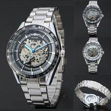 Mens Skeleton Dial Automatic Self-Wind Mechanical Stainless Steel Wristwatch