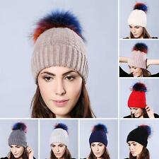 Colorful Real Raccoon Fur Pom Ball Design on Bobble Woven Ski Hat Warm Cap