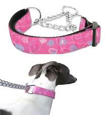 Martingale Dog Collar Pink Hearts M L Greyhound Whippet Training Choker Chain