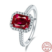 Free Jewelry Box Women Cocktail Ruby 100% S925 Sterling Silver Ring Size 6 7 8 9