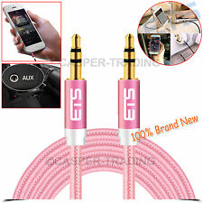 ®ETS 3.5MM Male Audio Aux Cable Jack To Jack Mobile Phone Tablet PC Laptop Pink