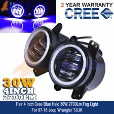 "Pair Cree Foglight Jeep Wrangler 4"" Round Blue Halo Ring Angel Eye 2700LM 30W EX"
