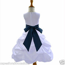 WHITE PAGEANT PICK UP FLOWER GIRL DRESS WEDDING QUINCEANERA  2 4 6 8 10 12 14 16
