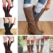 Women Beauty Stretch Lace Boot Cuffs Leg Warmers Lace Trim Toppers Sock Leggings