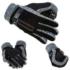 Winter Men Warm Gloves Leather Velvet Thermal Thicken Driving Skiing Glove
