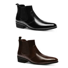 New MO06 Mens Cow Leather Formal Casual Slip on Dress Shoes Chelsea Ankle Boots