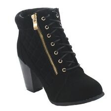 Top Moda DEMO-45 Women's Quilted Zipper Lace Up Chunky Heel Combat Ankle Booties