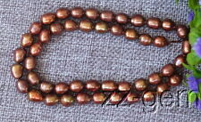 SP0010  7-8MM Brown Rice Freshwater pearl loose Beads 15''