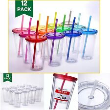 Tumblers With Lids And Straws 16oz Pack of 12 Reusable Double Wall Cups BPA Free