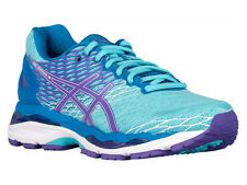 NEW WOMENS ASICS GEL-NIMBUS 18 RUNNING SHOES TRAINERS TURQUOISE / IRIS D - WIDE