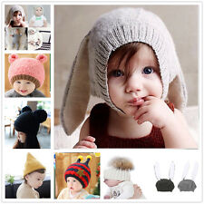 Toddler Girls Boys Crochet Earflap Beanie Hat Newborn Baby Kids Warm Soft Cap Cu
