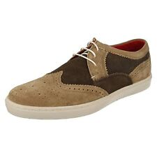 Mens Base London Anglo Taupe/Brown Suede Leather Casual Lace Up Shoes