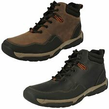 MENS CLARKS LEATHER WATERPROOF WALKING HIKING OUTDOOR ANKLE BOOTS WALBECK TOP