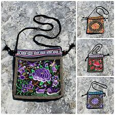 Handmade Thai Tribal Hippie Boho Ethnic Hmong Embroidered Zip Shoulder Bag Purse